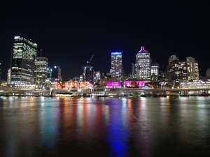 Aus QLD Brisbane skyline by night