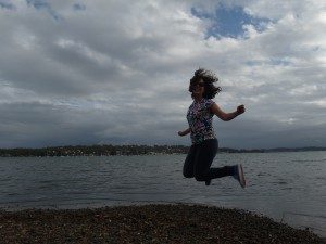 AUS NSW Lake Macquarie jump Lia